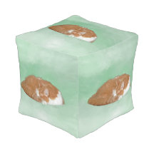 Napping Orange Kitty Cube Pouf
