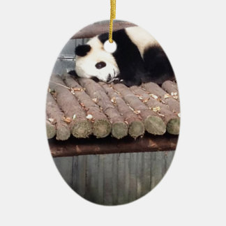 Napping Panda Ceramic Ornament
