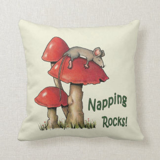 Napping Rocks! Mouse Sleeping on Toadstool Throw Pillow