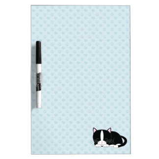 Napping Tuxedo Cat {blue} Dry Erase Board