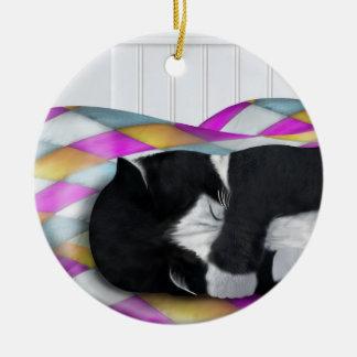 Napping Tuxedo Cat Ceramic Ornament