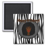 Nappy & Happy! With Beautiful Black Woman 2 Inch Square Magnet
