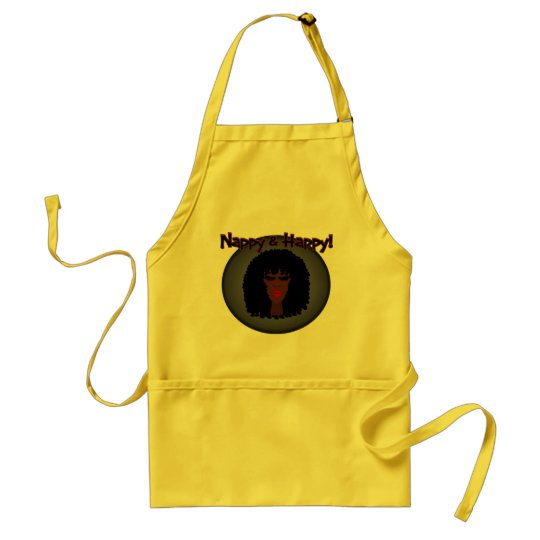 Nappy & Happy! With Beautiful Black Woman Adult Apron