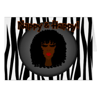 Nappy & Happy! With Beautiful Black Woman Greeting Card