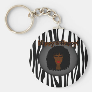 Nappy & Happy! With Beautiful Black Woman Keychain