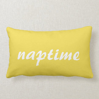 Naptime White and Yellow Lumbar Pillow