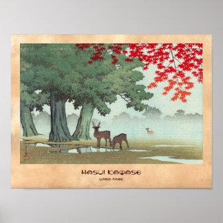 Nara Park Hasui Kawase shin hanga scenery art Print