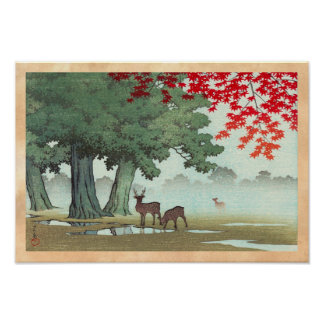 Nara Park Hasui Kawase shin hanga scenery art Posters