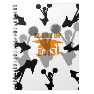 Naranja 2013 de la graduación de la animadora libros de apuntes con espiral