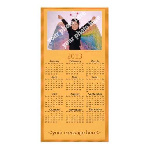 Naranja adaptable de la tarjeta del calendario de  tarjeta personal