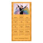 Naranja adaptable de la tarjeta del calendario de tarjetas fotograficas personalizadas