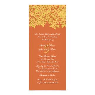 """Naranja alto e invitaciones florales amarillas del invitación 4"""" x 9.25"""""""