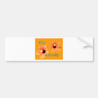 Naranja anaranjado BG de madre del hibisco feliz d Pegatina De Parachoque