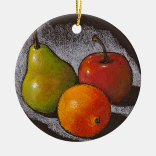 Naranja, Apple, pera: Arte en colores pastel del a Ornamento Para Arbol De Navidad