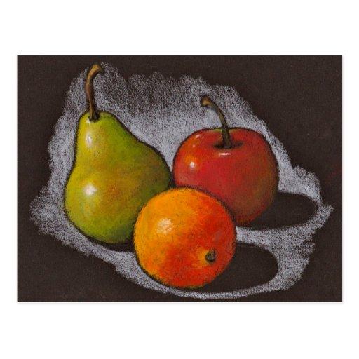 Naranja, Apple, pera: Arte en colores pastel del Postal