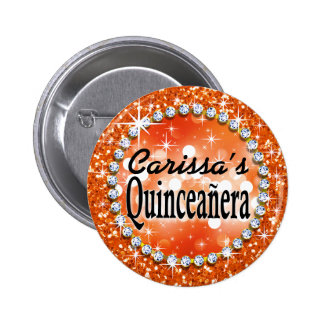 Naranja atractivo de la celebración de Bling Quinc Pin Redondo De 2 Pulgadas