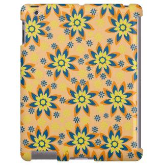 Naranja, azul, caja amarilla del iPad de las flore