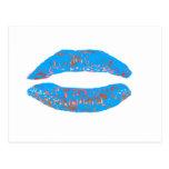 Naranja azul del beso los regalos de Zazzle del Postal