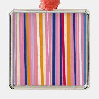 Naranja azul en rayas rosadas adorno navideño cuadrado de metal
