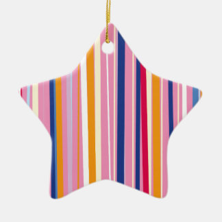 Naranja azul en rayas rosadas adorno navideño de cerámica en forma de estrella
