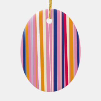 Naranja azul en rayas rosadas adorno navideño ovalado de cerámica