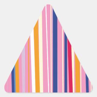 Naranja azul en rayas rosadas pegatina triangular