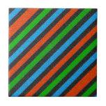 Naranja, azul, verde, brillo negro rayado teja cerámica