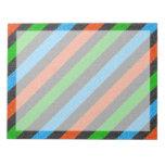 Naranja, azul, verde, brillo negro rayado bloc de papel