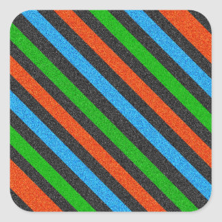 Naranja, azul, verde, brillo negro rayado pegatina cuadrada