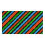 Naranja, azul, verde, brillo negro rayado tarjetas personales