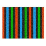 Naranja, azul, verde, brillo negro rayado tarjeta postal