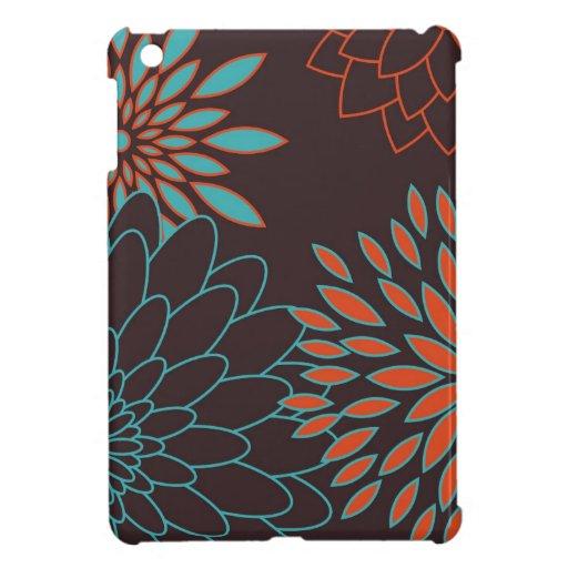 Naranja azul y flores modernas de Brown iPad Mini Cárcasa