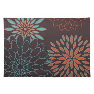 Naranja azul y flores modernas de Brown Mantel Individual