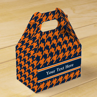 Naranja/azules marinos Houndstooth Cajas Para Regalos De Fiestas