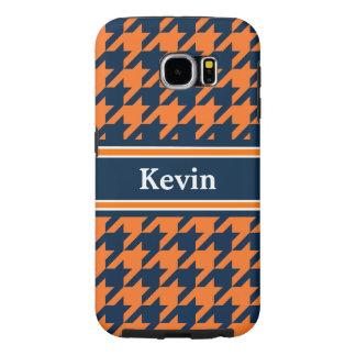 Naranja/azules marinos Houndstooth Fundas Samsung Galaxy S6