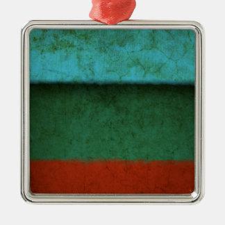 Naranja azulverde rojo de los campos de color del adorno navideño cuadrado de metal