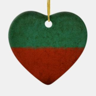 Naranja azulverde rojo de los campos de color del adorno navideño de cerámica en forma de corazón