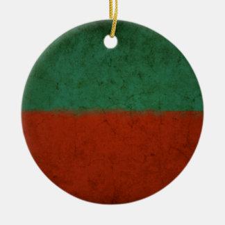 Naranja azulverde rojo de los campos de color del adorno navideño redondo de cerámica