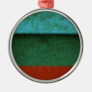 Naranja azulverde rojo de los campos de color del adorno navideño redondo de metal