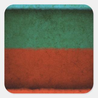 Naranja azulverde rojo de los campos de color del pegatina cuadrada