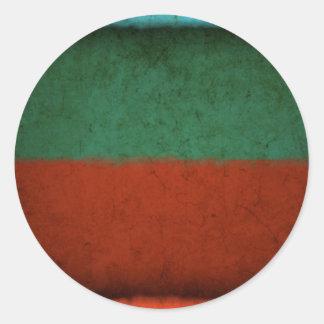 Naranja azulverde rojo de los campos de color del pegatina redonda