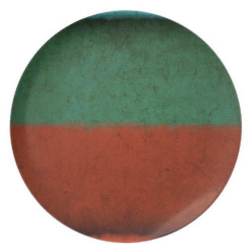 Naranja azulverde rojo de los campos de color del  plato para fiesta