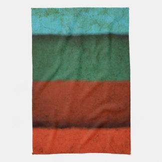 Naranja azulverde rojo de los campos de color del  toalla de cocina