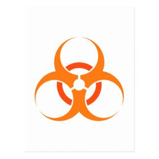 Naranja biológico del símbolo del peligro del tarjetas postales