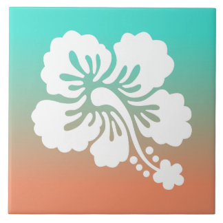 Naranja blanco Ombre de la turquesa del hibisco Azulejo Cuadrado Grande