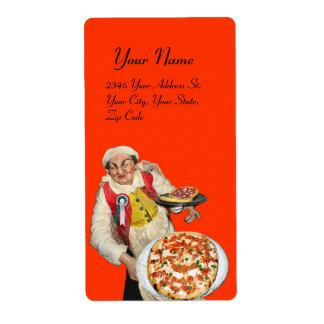 Naranja blanco verde rojo de la PIZZA ITALIANA Etiqueta De Envío