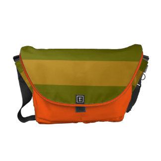Naranja brillante lindo y bolso rayado verde bolsas de mensajería
