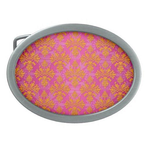 Naranja brillante y damasco floral rosado hebilla cinturón oval