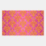 Naranja brillante y damasco floral rosado rectangular altavoces
