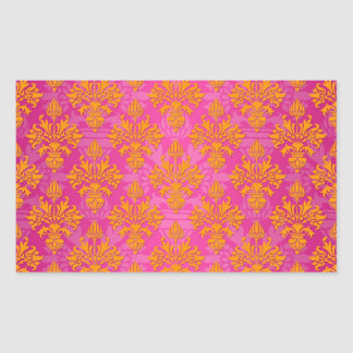 Naranja brillante y damasco floral rosado etiqueta